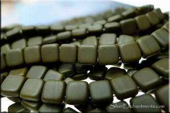 CzechMates Matte Umber Brown Czech Glass 2-hole Tile Beads