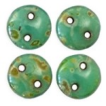 6mm Persian Turquoise Picasso CzechMates 2-Hole Lentil Czech Glass Bead