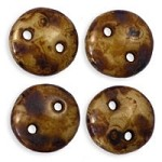 6mm Beige Picasso CzechMates 2-Hole Lentil Czech Glass Bead