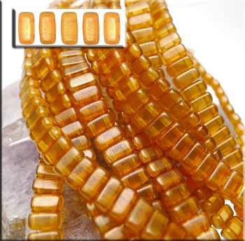 Sandalwood Halo CzechMates Brick Beads