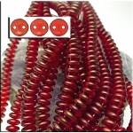 6mm Cardinal Halo CzechMates 2-Hole Lentil Czech Glass Bead