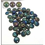 6mm Matte Iris Green CzechMates 2-Hole Lentil Czech Glass Bead