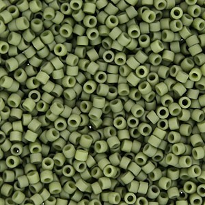 Size 11 Delica Beads, Asparagus Olive Green Matte Opaque, DB0391