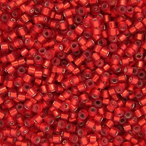 Size 11 Delica Beads, Ruby Red Semi-Matte Silver Lined, DB0683