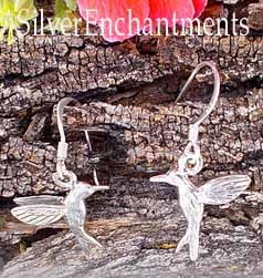 Sterling Silver Hummingbird Earrings, 3D