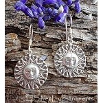 Sterling Silver Sun Earrings, Ornate Medieval