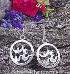 Sterling Silver Om Earrings, Ringed Om Symbol Earrings