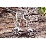 Sterling Silver Skull and Crossbones Earrings, Small Jolly Roger Pirate Earrings