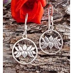 Sterling Silver Lotus Earrings, Lotus in Circle Earrings