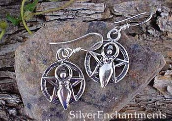 Sterling Silver Lunar Goddess Pentacle Earrings