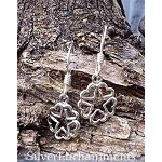 Sterling Silver Discrete Pentacle Earrings, Hidden in Hearts Pentagram Earrings