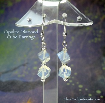 Cube Diamond Opalite Earrings