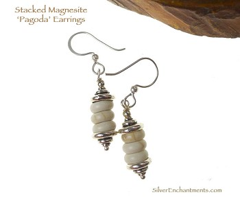 Stacked Stone Earrings, Pagoda Earrings