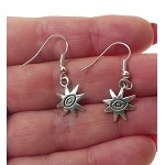 Sun Earrings with Evil Eye Warding Center - Everyday Silver Jewelry