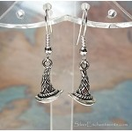 Silver Witch Hat Earrings, Witchy Jewelry