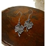Silver Shamrock Earrings, Dangling Clover Earrings