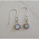 Sterling Silver Small Moonstone Earrings - Sterling Silver Rainbow Moonstone Dangle Earrings, Gemstone Drop Earrings