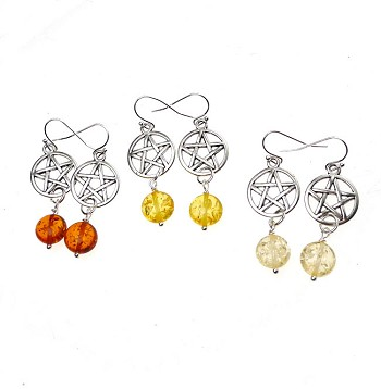 SOLDOUT - Amber Pentacle Earrings, Wiccan Amber Dangle Earrings, Silver Amber Drop Pentagram Earrings, Amber Resin Earrings