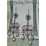 Celtic Triple Spiral and Swag Earrings, Sterling Silver Earrings