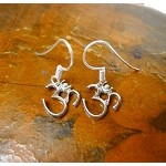 Sterling Silver Om Earrings, Om Symbol Earrings