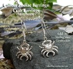 Sterling Silver Crab Earrings, Cancer Zodiac