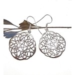 Sterling Silver Celtic Lace Pentacle Earrings, Large Celtic Pagan Earrings