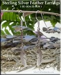 Sterling Silver Feather Earrings, Long