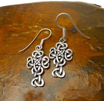 Sterling Silver Celtic Cross Earrings, Dangling Celtic Knot Cross Earrings