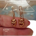 COPPER Comedy-Tragedy Earrings, Drama Mask Earrings, Theater Jewelry, Theatre Earrings, Actor Charm Earrings