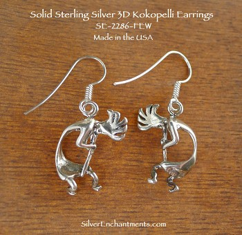 Sterling Silver Kokopelli Earrings, Southwestern Fertility God, 3D Curved Kokopelli Jewelry