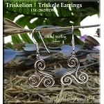 Sterling Silver Triskelion Earrings, Celtic Spiral Earrings