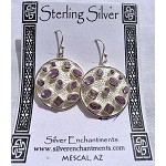 Amethyst Medallion Earrings, Hammered Sterling Silver with Faceted Amethyst Gemstone Earrings