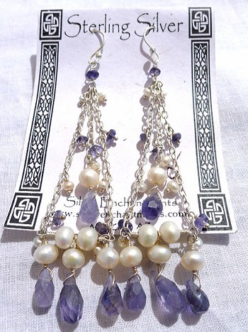 Dangling Sterling Silver and Faceted Iolite and Pearl Earrings