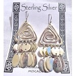 Celtic Spiral Earrings, Sterling Silver Celtic Earrings with Dangles
