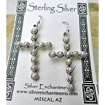SOLD - Cross Earrings, Sterling Silver Cross and Pearl Earrings