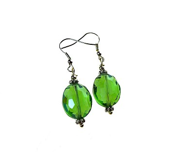 Emerald Green Earrings, Green Crystal glass with Mystic Blue Aura Earrings, Silver
