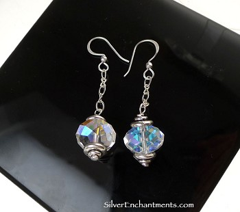 Crystal Dangle Earrings, Silver Dangling Crystal Drop Earrings with Rainbow Aura