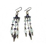Long Gemstone Chandelier Earrings with Moonstone, Iolite, and Blue Topaz, Sterling Silver