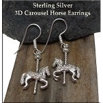 Sterling Silver Carousel Horse Earrings