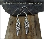 Sterling Silver Lovers Earrings, 3D Entwined Lovers Earrings