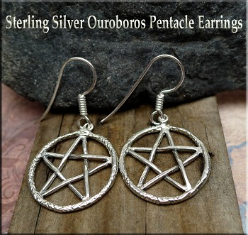 Sterling Silver Ouroboros Earrings, Snake Pentacle Earrings