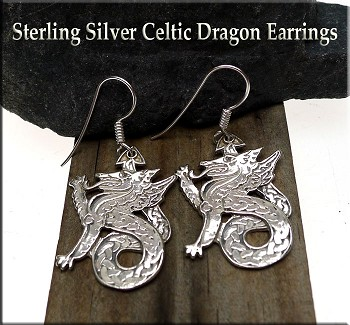 Celtic Dragon Earrings, Sterling Silver Dragon Earrings