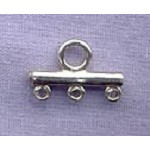 Sterling Silver 3 to 1 Jewelry Connector, 14mm