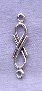 Sterling Silver Infinity Jewelry Link Finding with Loops, 22x5mm
