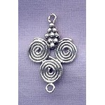 Sterling Silver Grape-Swirl Connector or Necklace Dangler, 27mm