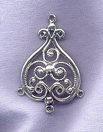 Sterling Silver Large Ornate Domed Jewelry Finding