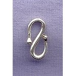 Sterling Silver S-Hook Jewelry Clasp, 18mm