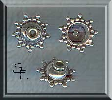 Sterling Silver Fancy Beadcaps with Dotted Star Rim 10mm (2)