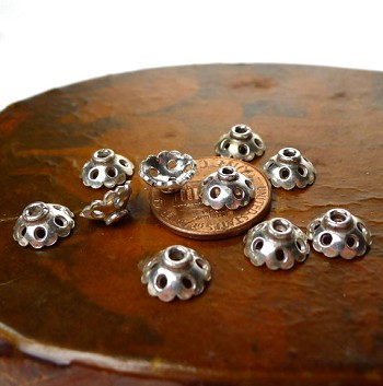 Sterling Silver Pierced Beadcaps, 8.5mm Ruffled Edge (10)