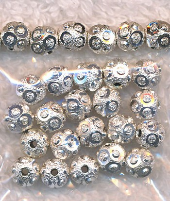 6mm Round Beads, Diamond Cut Fancy Stardust Ball Beads (20)